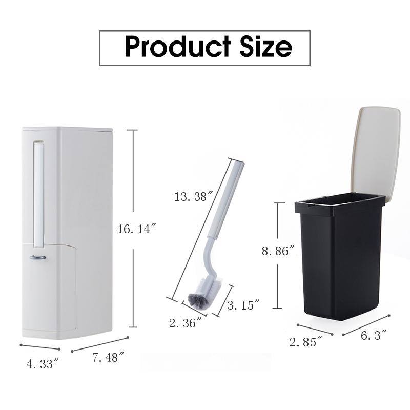 3 In 1 Bathroom Garbage Bin Trash Can Kitchen Waste Basket with Toilet Brush