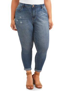 A3 Denim Women's Plus Size Roll Cuff Jean