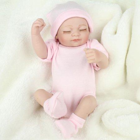 11'' Reborn Newborn Sleeping Baby Doll Girl Realistic Looking Soft Silicone Vinyl Dolls for Children Toddler Gifts for Ages 3+ - Dolls For Toddler Girl