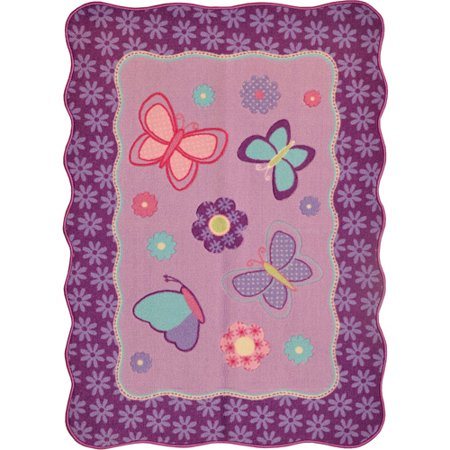 Mainstays round butterfly patches accent rug purple for Rugs with purple accents