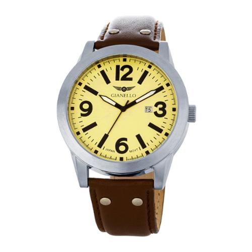 Vernier  Men's Leather Strap Riveted Watch