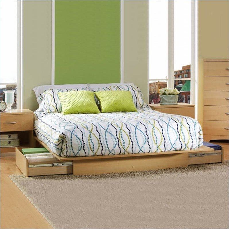 South Shore Copley Full Queen Wood Platform Storage Bed 3 Piece Bedroom Set in Maple by South Shore