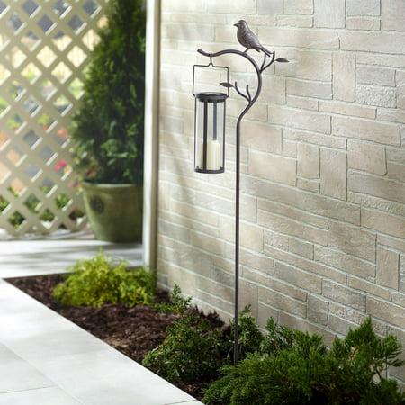 Provence Bird Stake with Solar LED Candle Lantern (45