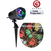 gemmy lightshow multi color led projection light christmas holiday light multi-color santa and peppermint candy
