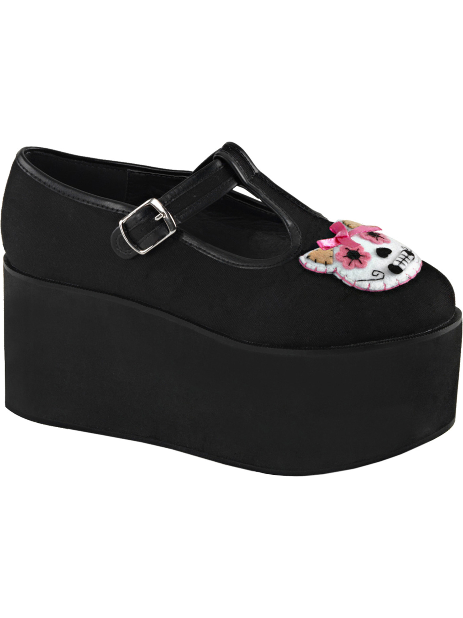 Canvas Shoes Womens Black T Strap Shoes Kitty Cat Skull 3 1/4 Inch Platform