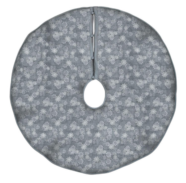 "54"" Elegant Shiny Gray and Silver Jacquard Snowflake Print Christmas Tree Skirt"