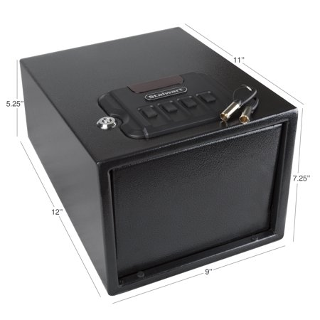 Gun Safe with Digital Lock and Manual Override Keys- 1.2 mm Thick Walls, 1.5 mm Thick Spring Loaded Door by Stalwart
