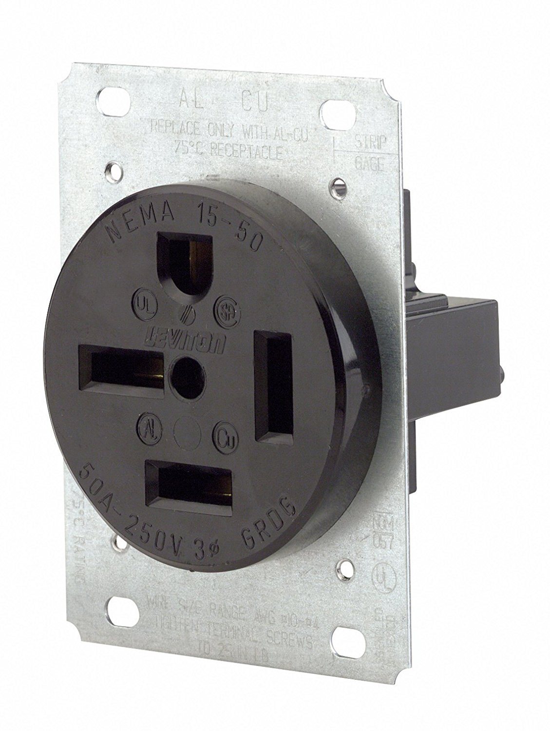 Leviton 8450 50 Amp 250 Volt Flush Mounting Receptacle Straight Receptacles Wiring Diagram Blade Industrial Grade Grounding Black Ship From America
