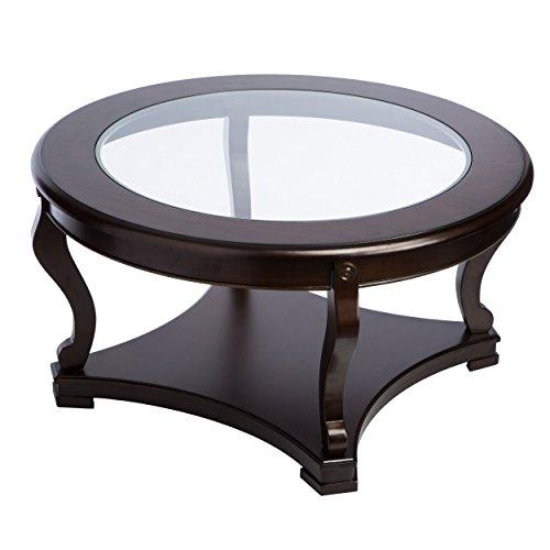 Modern Style Round Shaped Glass Top Cocktail Coffee Table with Bottom Shelf, Wood Legs, Espresso Finish
