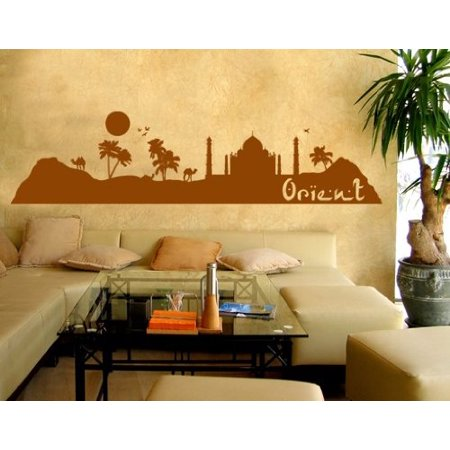 T/s Pakistan Green (Oriental City Skyline Wall Decal - Wall Sticker, Vinyl Wall Art, Home Decor, Wall Mural - 1786 - 31in x 8in,)
