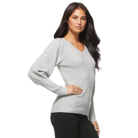 Sofia Jeans by Sofia Vergara Women's V-Neck Sweater with Blouson Sleeves