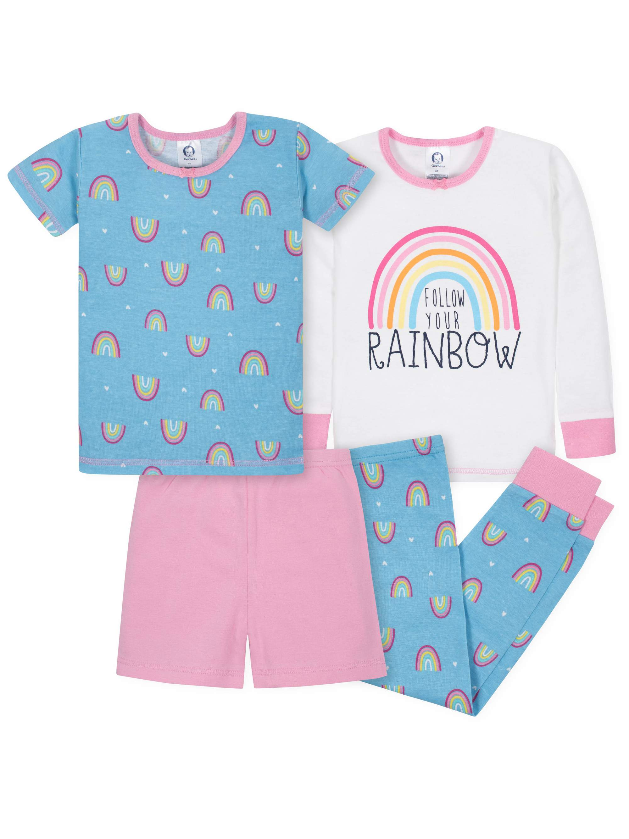 Mix N Match Tight-Fit Cotton Pajamas, 4pc Set (Baby Girls & Toddler Girls)