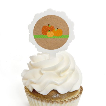 Pumpkin Patch - Fall & Halloween Party Cupcake Picks with Stickers - Party Cupcake Toppers - 12 Count (Pumpkin Patch Halloween Cupcakes)