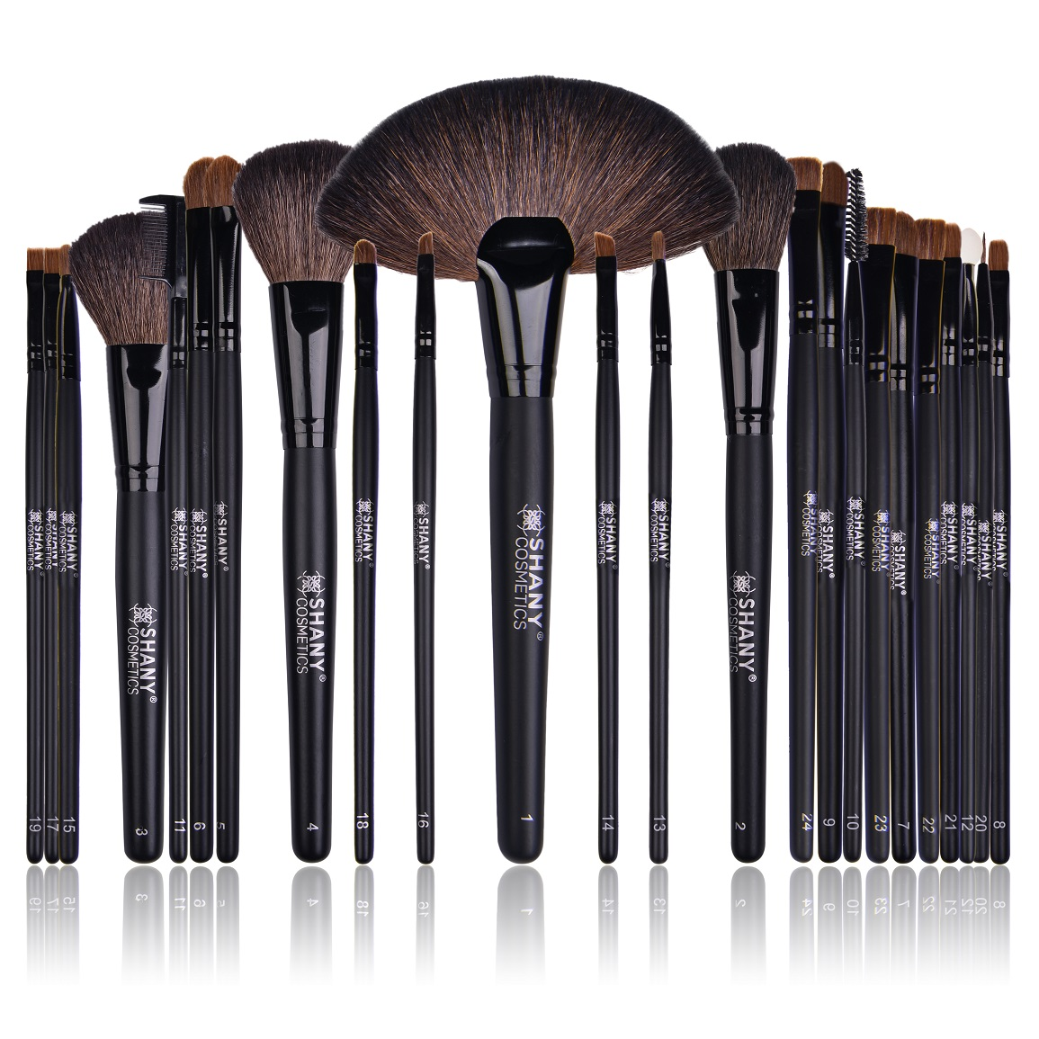 SHANY Studio Quality Natural Cosmetic Brush Set with Leather Pouch, 24 pc