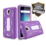 blu studio xl 2 case s0270uu heavy duty rugged hard cover hybrid kickstand case with clear screen protector film for studio xl2 case (hvd purple / white sp)