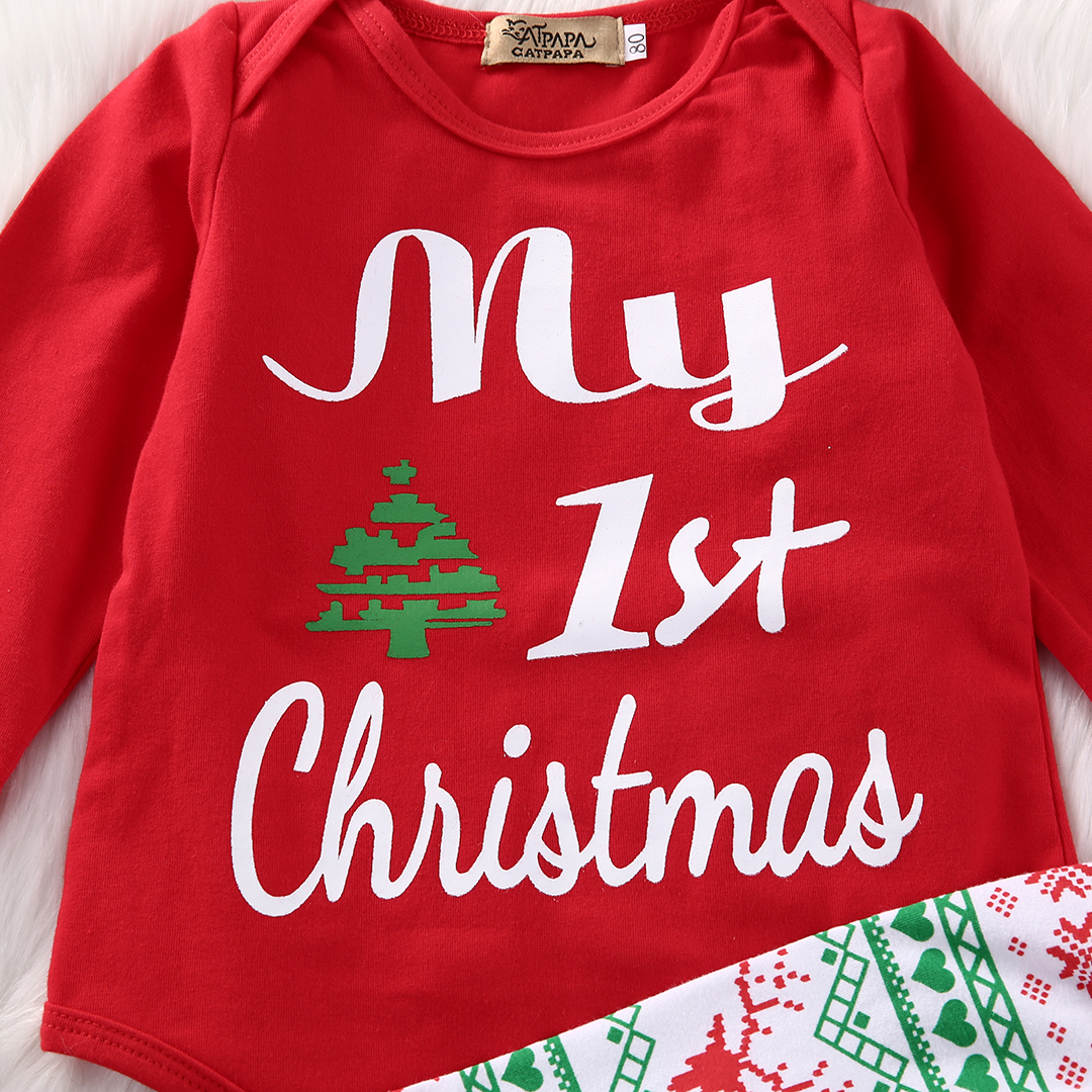 2487d1cede71 Gaono - Babys My First Christmas Outfits Long Sleeve Romper With Snowflake  Pant And Hat 12-18 Months - Walmart.com