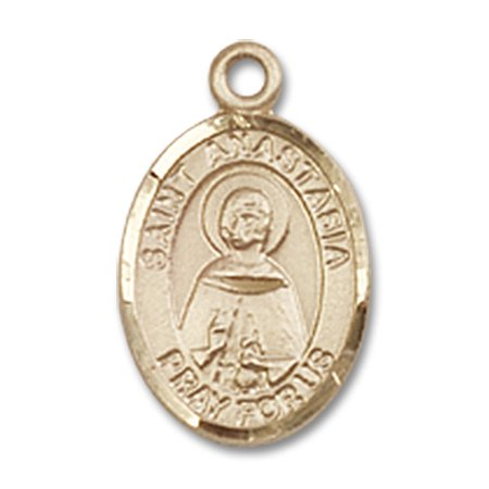 14kt Yellow Gold St. Anastasia Medal 1/2 x 1/4 inches