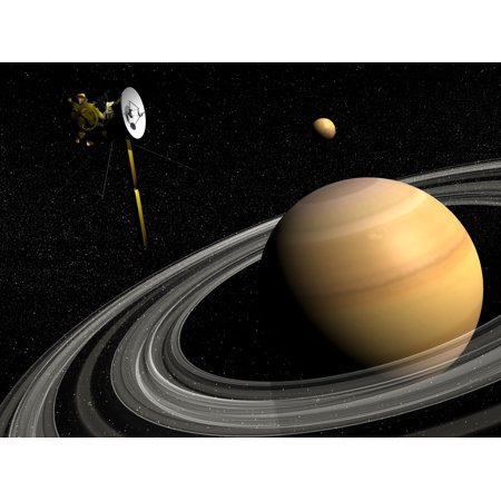 Cassini spacecraft orbiting Saturn and and its moon Titan Canvas Art - Elena DuvernayStocktrek Images (17 x 13) (Silhouette Titan Minimal Art)