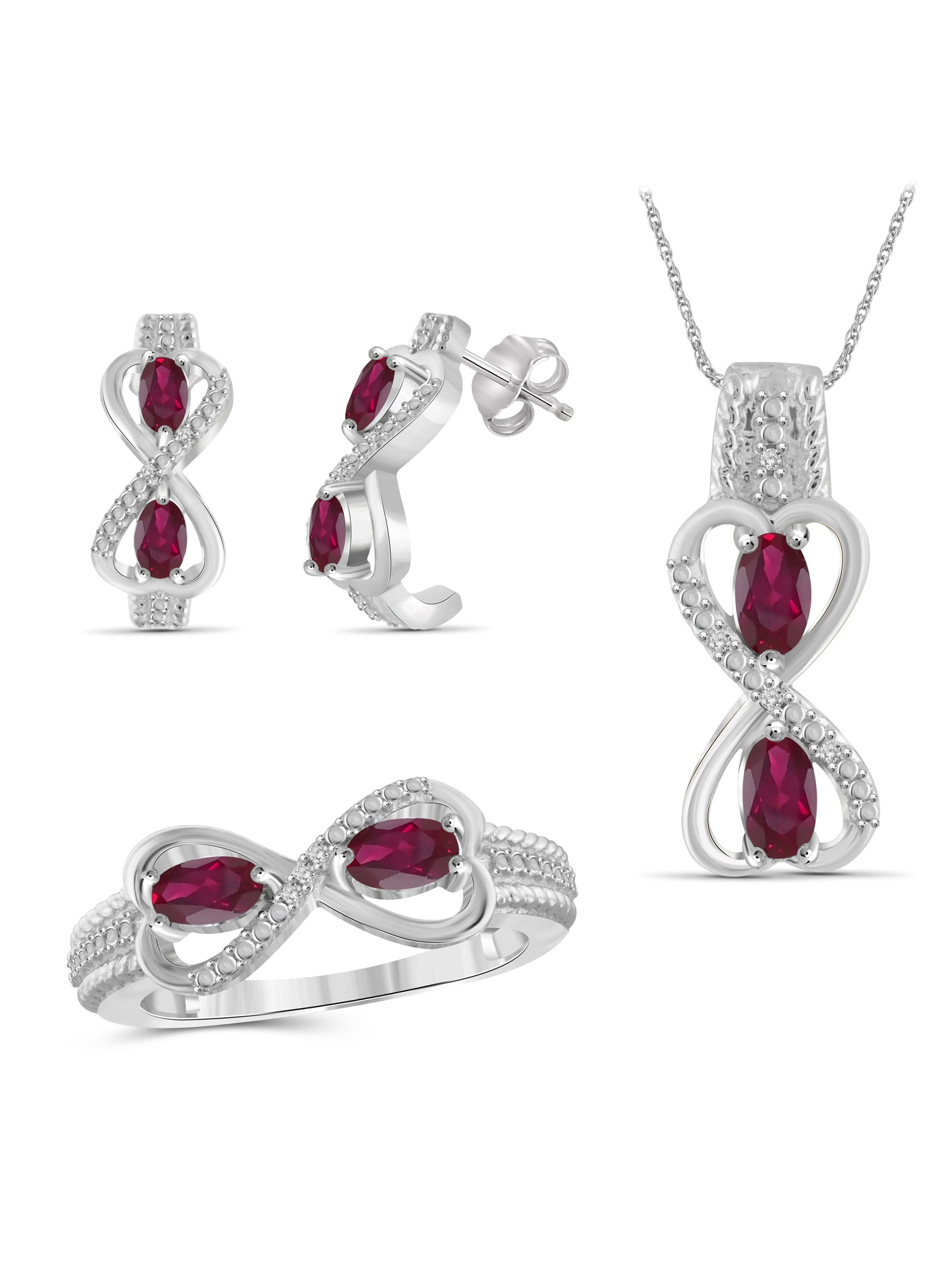 JewelersClub 2.00 Carat T.G.W. Ruby And White Diamond Accent Sterling Silver 3-Piece Jewelry set by JewelersClub