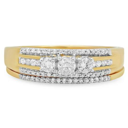 Dazzlingrock Collection 0.40 Carat (ctw) 18k Round Diamond Ladies 3 Stone Bridal Ring Engagement Set, Yellow Gold, Size 5.5