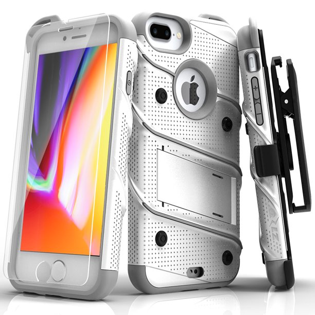 Zizo Bolt Series Case With Screen Protector Holster And Kickstand For Iphone 8 Plus And Iphone 7 Plus White Gray Walmart Com Walmart Com
