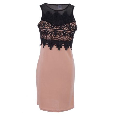 - S/M Fit Pink Sheer Mesh Yoke Sweetheart Neckline Crochet Trim Dress