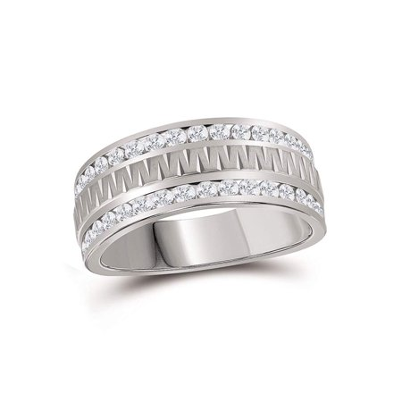 14kt White Gold Mens Round Channel-set Diamond Grecco Textured Double Row Wedding Band Ring 1.00 Cttw - image 2 de 2
