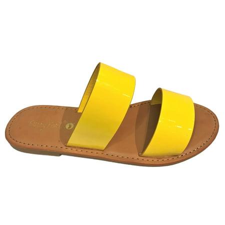 98c28f8c5 Sunny Feet - Coastline-64S Women Open Toe Slip On Double Band Flip Flops  Slide Flat Sandal Patent Yellow - Walmart.com
