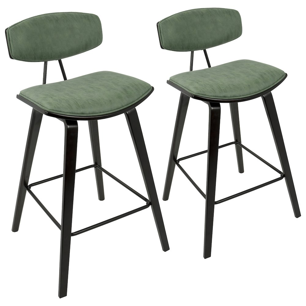 "Damato 26"" Mid-Century Modern Counter Stool in Espresso with Green Fabric by Lumisource Set of 2 by"