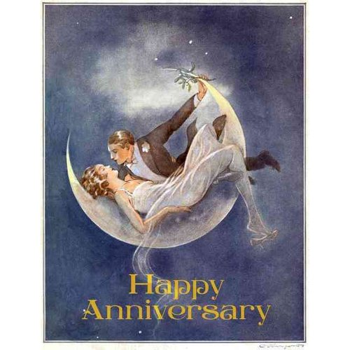 1920's Couple in Crescent Moon - Anniversary Greeting Card (6 Cards Individually Bagged W/ Envelopes & Header)