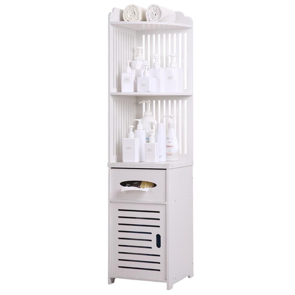 UBesGoo White Floor Standing Tall Bathroom Storage Cabinet ...