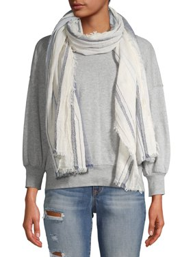 Scoop Ivory and Blue Striped Scarf Women's