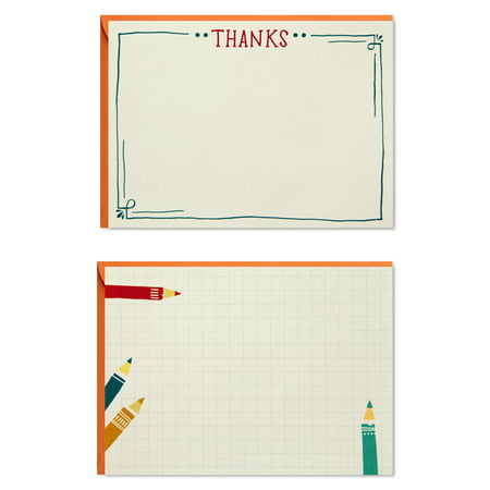 Hallmark Blank and Thank You Cards Assortment, Colored Pencils (50 Flat Paneled Note Cards with Envelopes)