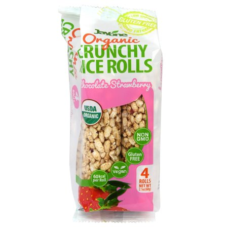Jayone Organic Crunchy Rice Rolls, Chocolate Strawberry Flavor, USDA Organic, 4 Rolls 2.1 ounce, 60kcal per Roll, Vegan, Gluten Free, Non-GMO, Product of Korea
