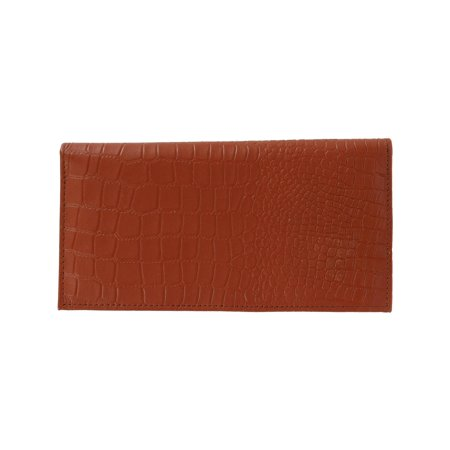 Leather RFID Checkbook Cover with Croco Pattern (Croc Pattern Leather)