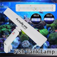 18/26LED Aquarium Fish Tank Light US 8/10W Aquarium Planted Clip Lamp With/Without Temperature Display for 11-23 Inch Fish Tank White Blue LED Lighting