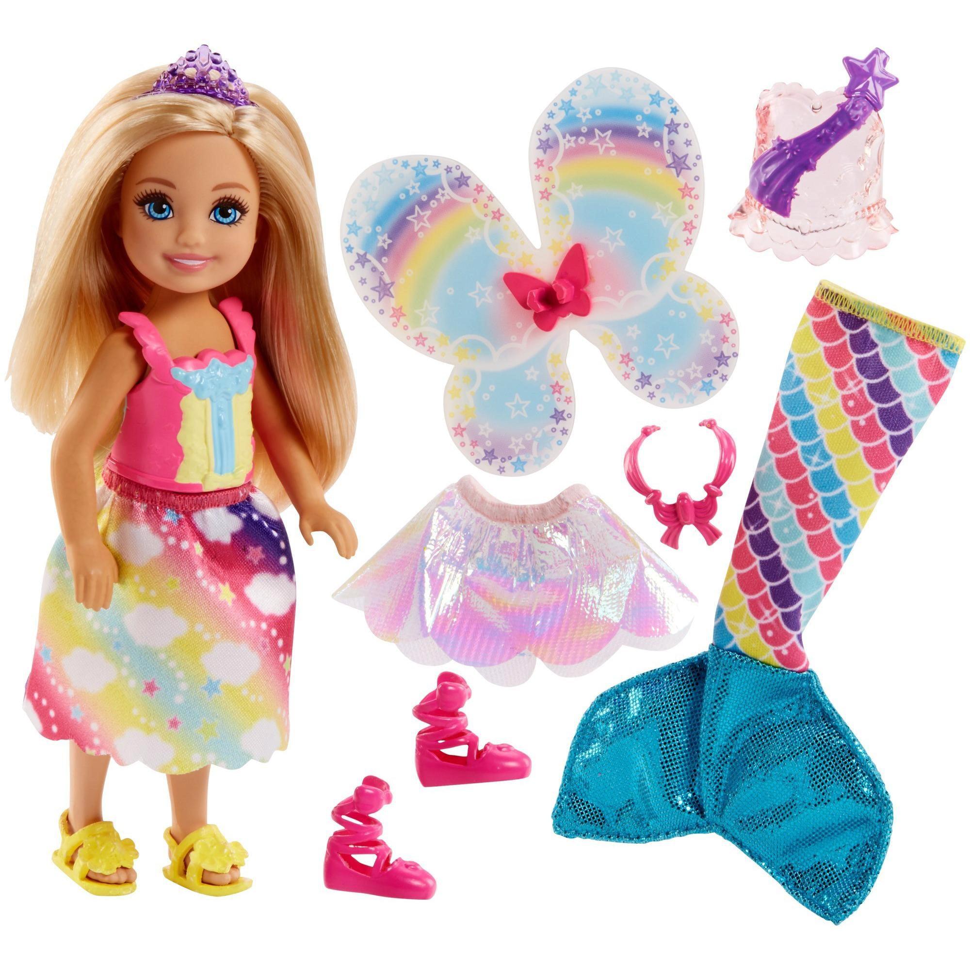 Barbie Rainbow Cove Chelsea Dress Up Doll With 3 Themed Outfits Walmart Com Walmart Com