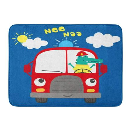 LADDKE Red Aid Cute Fire Truck Cartoon Crocodile Big Burning Car Clouds Doormat Floor Rug Bath Mat 23.6x15.7 inch