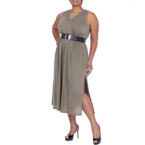Plus Moda Women's Plus-Size Urban Camo Collection Belted Surplice Maxi Dress