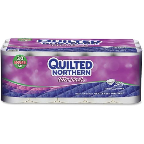 """Quilted Northern Plush Bathroom Tissue - 3 Ply - 4"""" x 4"""" - 176 Sheets/Roll - 4.65"""" Roll Diameter - White - Plush - Soft,"""