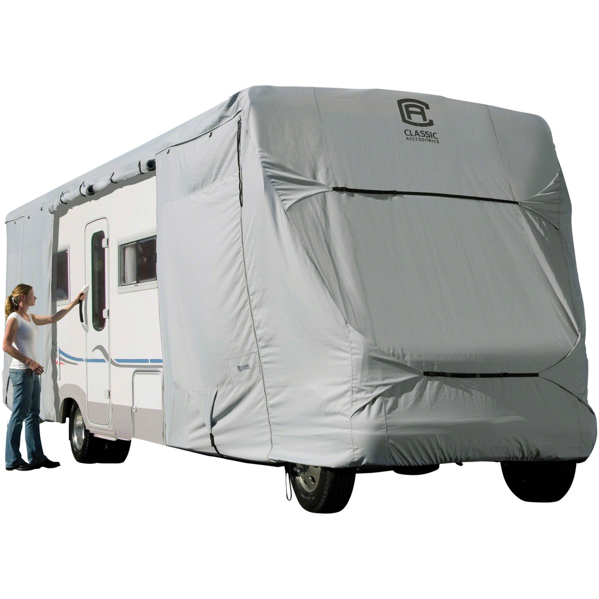 Classic Accessories OverDrive PermaPRO Deluxe Class C RV Cover, Fits 20' - 38' RVs - Lightweight Ripstop and Water Repellent RV Cover
