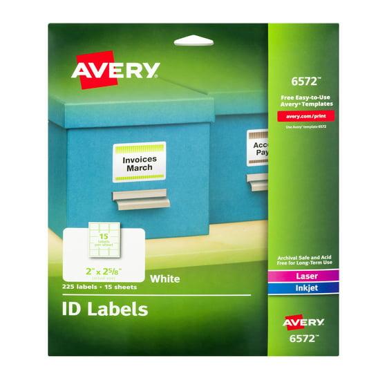 Avery Permanent Id Labels Inkjetlaser 2 X 2 58 White 225pack