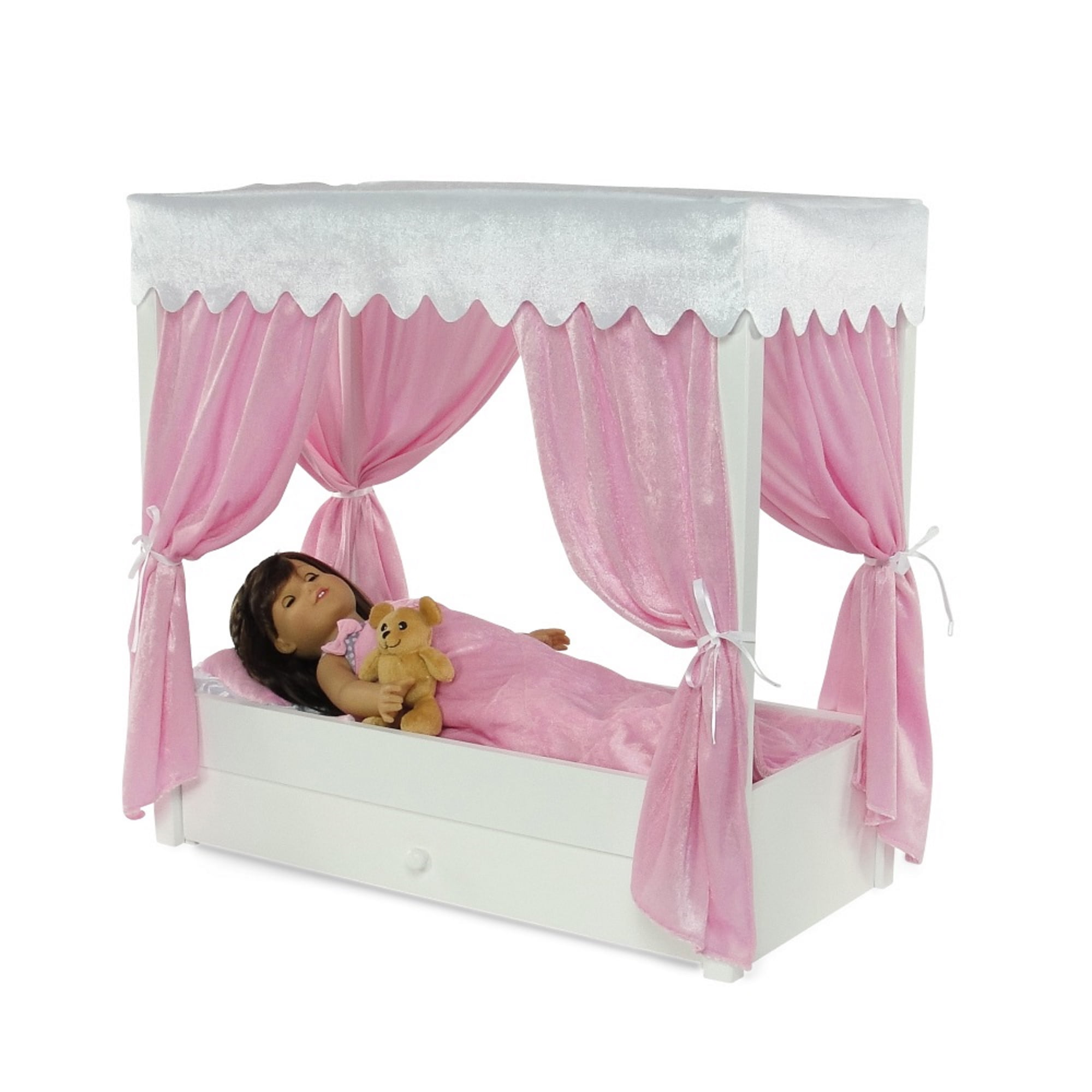 For American Girl Doll Canopy Bed Trundle Storage 18 Inch Dolls