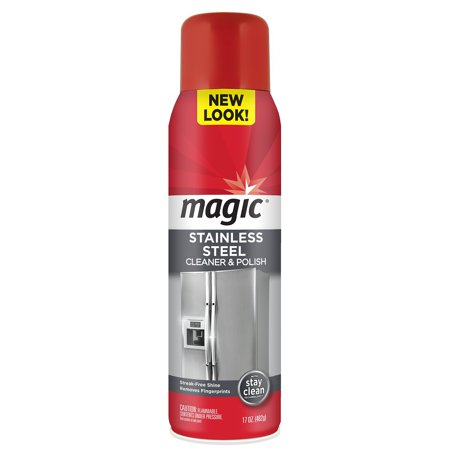 Magic Stainless Steel Cleaner Aerosol -  17 Ounce - Removes Fingerprints Residue Water Marks and Grease From Appliances - Refrigerator Dishwasher Oven Grill etc - Elbow Grease Cleaners
