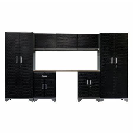 Frontier Steel Garage Cabinet Storage System With Wooden Work Surface 76 H X 132