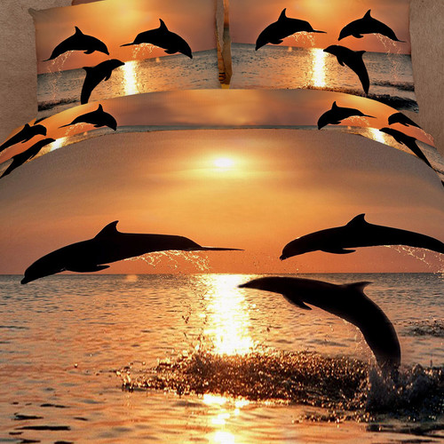 Dolce Mela Pacific Sunset Dolphins 6 Piece Duvet Cover Set
