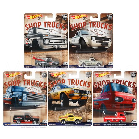 2018 Hot Wheels 50th Anniversary 1:64 Car Culture Shop Trucks Premium Adult Collectible Diecast Trucks, Set of 5 for $<!---->