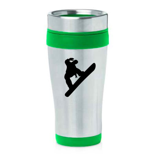 16oz Insulated Stainless Steel Travel Mug Snowboard Snowboarder (Green ) by