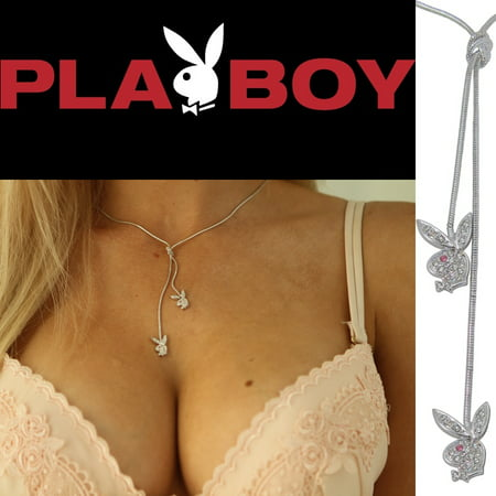 Playboy Y Necklace Swarovski Crystal Bunny Silver Platinum Plated Lariat