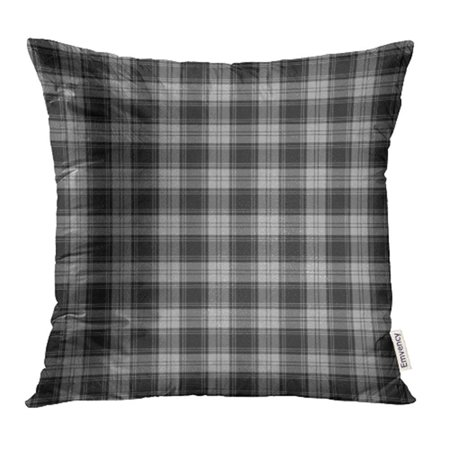USART Black Patterned of The Clan Douglas Grey Tartan Plaid Ancient Ash Celtic Checkered Pillow Case Pillow Cover 18x18 inch Throw Pillow Covers